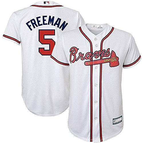 Majestic Freddie Freeman Atlanta Braves MLB Youth White Home Cool Base Replica Jersey (Youth Medium 10-12)