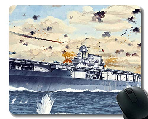 Mouse Pad with Stitched Edge,Military USS Yorktown (CV 5) Warship Mouse Mat,Non-Slip Rubber Base Mousepad