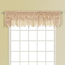 United Curtain Valerie Lace Sheer Straight Valance, 52 by 18-Inch, Taupe
