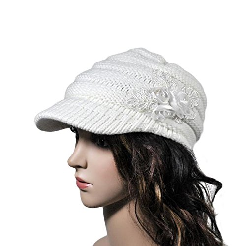 URIBAKE ❤ Women's Fashion Knitted Cap Peaked Floral Decorated Winter Warm Ladies Sequin Applique Hats