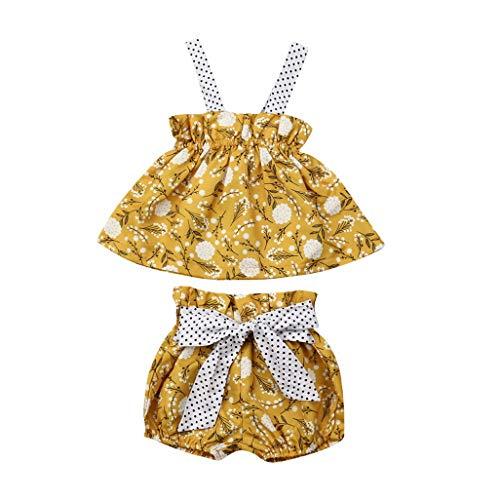 (0-24M Floral Newborn Kids Baby Girl Sleeveless Dress Shorts 2Pcs Outfit Clothes Set(18Months,A))