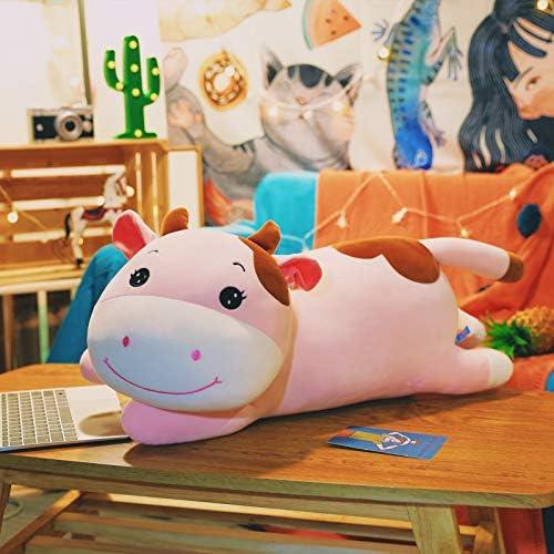 AYQX Nueva versión de Mentira Suave de Vaca Linda con muñeca dormida Muñeca de Juguete de Felpa para Enviar Novias 90cm Toro Lindo mentiroso Rosado: Amazon.es: Juguetes y juegos