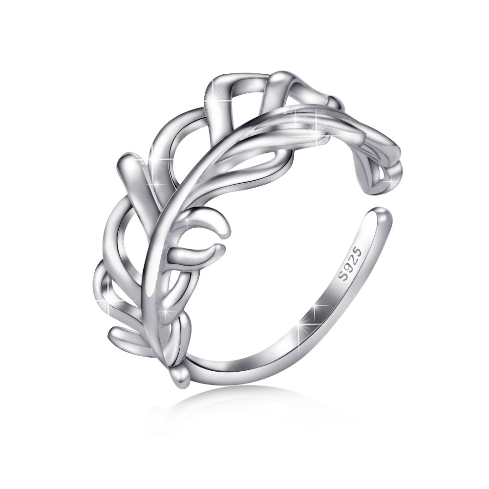 Apotie 925 Sterling Silver Fashion Feather Ring Plume Adjustable Opening Band Ring Gifts for Women