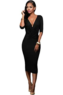 59f6bd3d120 New Black 2 Way Covertible Body Con Midi Dress Club Wear Party Wear Evening  Dress Size