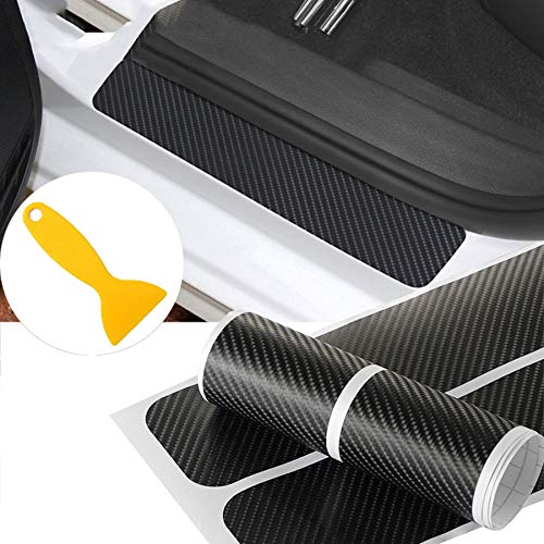 NF orange 4X 5D Carbon Fiber Car Scuff Plate Door Sill Sticker Panel Protector and a Scraper (4D Sticker) ()
