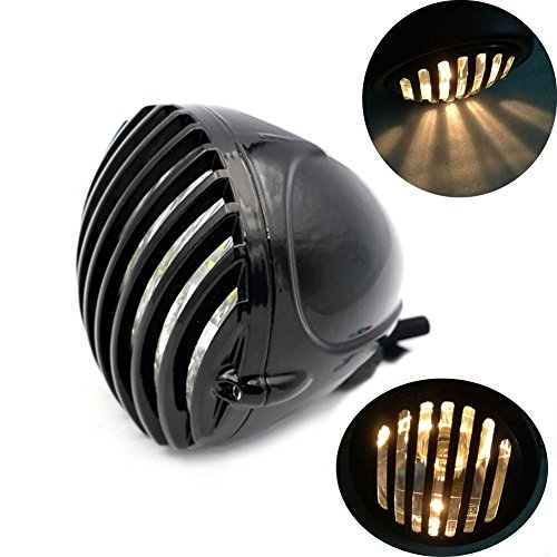 Motocycle Scalloped Vintage Antique Style Headlight Fog light Prison Finned Grill For Harley Bobber Chopper Black - Antique Racers