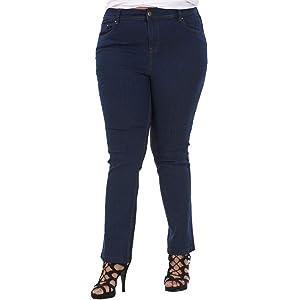 ex UK Store Ladies Plus Size Stretch Denim Curve Straight Cut Womens Jeans