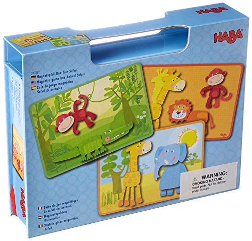 (HABA Magnetic Game Box Safari Animals - 34 Magnetic Pieces with 4 Background Scenes in Cardboard Carrying Case)