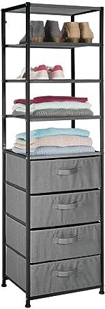 mDesign Mueble con cajones – Estantería con 4 baldas y 4 cajones de Tela – Útil estantería de Metal y Tela para Dormitorio, habitación Infantil o vestíbulo – Gris Oscuro: Amazon.es: Hogar