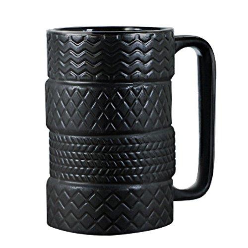 EPFamily 3D Cool Car Mug Tyre Tire Interior Durable Coffee Tea Cup Attractive Mugs Personalized Porcelain Gifts for Men Women Car Lover 14.5 oz Black
