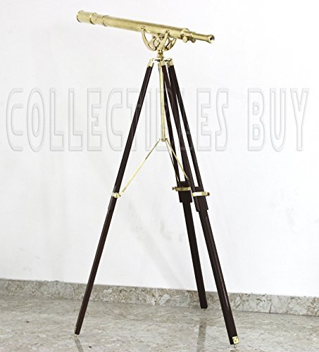Nautical Telescope Heavy Brass Solid Wooden Tripod New Design [並行輸入品]   B01K1X3ACA
