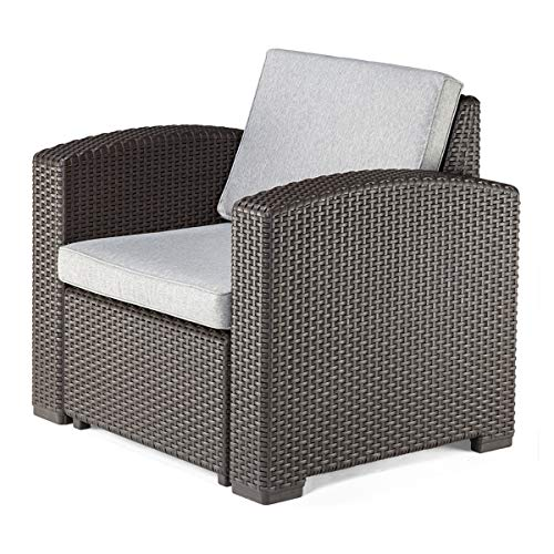 Pamapic Outdoor/Indoor All Weather Armchair Furniture with Washable Seat Cushions, in a Propylene Resin Plastic Wicker Pattern Patio Furniture Sets for Patio, Backyard, Porch, Garden, Poolside (Furniture Patio Plastic Resin)