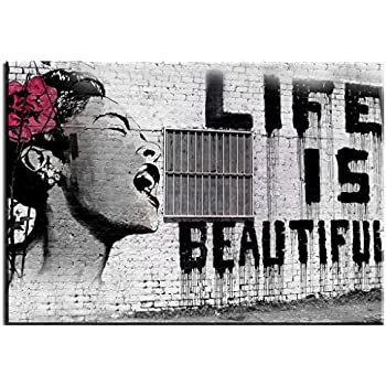 Amazon.com: Alonline Art Life Is Beautiful Banksy PRINT On CANVAS ...