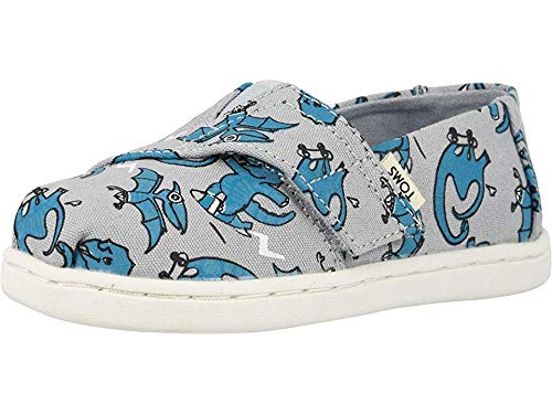 TOMS Kids Baby Boy's Alpargata (Toddler/Little Kid) Grey/Blue Dino Glow in The Dark Print 11 M US Little Kid