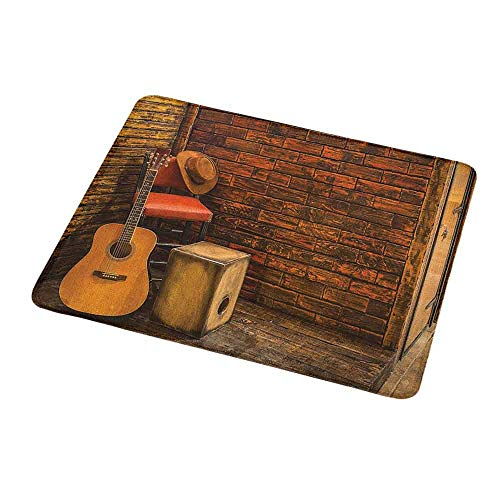 - Anti-Slip Gaming Mouse Mat/Pad Music,Music Instruments on Wooden Stage in Pub Beverage Cafe Counter Bar,Dark Orange Amber Sand Brown,Gaming Non-Slip Rubber Large Mousepad 9.8