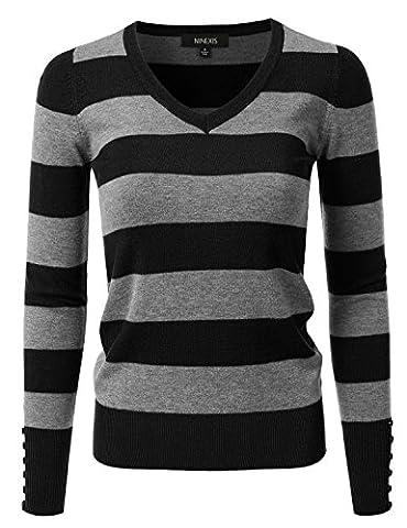 NINEXIS Women's Rayon Knit Sweater w/ Cuff Buttons GREY/BLACK L