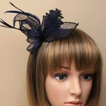 7dd498732ca Navy Blue Headband Aliceband Hat Fascinator Wedding Ladies Day Race Royal  Ascot