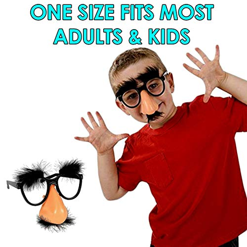 Classic Disguise | Great Party Favor| Disguise Glasses with Funny Nose, Eyebrows & Mustache Glasses | Pack of 6 | Manufactured By Dazzling Toys -