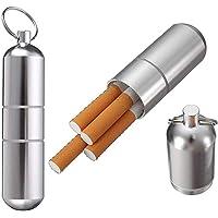 2 Unidades Mini pitillera de Aluminio Soporte con Llavero para Hombres, Resistente al Agua Bolsillo Redondo Cigarrillos Caja, Caja de Cigarrillos a Prueba de Agua para el Bolsillo