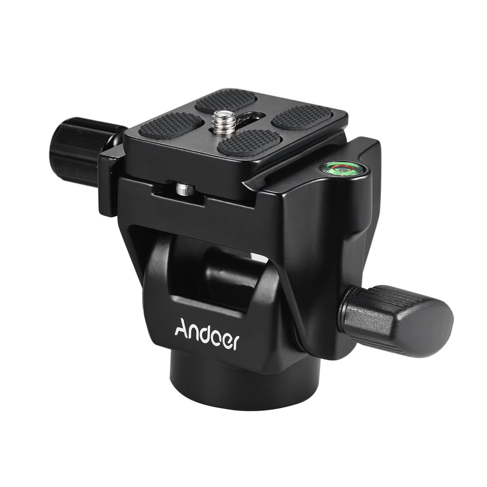 Andoer M-12 Monopod Tilt Head Panoramic Head Telephoto Bird Watching with 3pcs Quick Release Plate by Andoer
