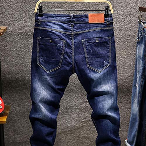Hombres Cintura Skinny Pantalones Pitillo Largos Fit Azul Jeans Vintage Mezclilla Elásticos Delgados De Slim Oscuro Vaqueros Denim Hombres zarlle Baja 2018 qEWCwazq