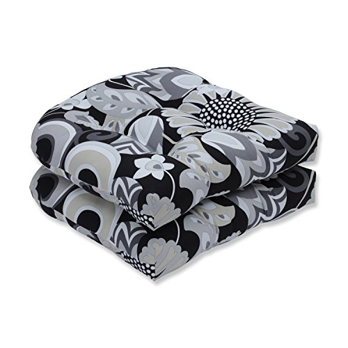 Pillow Perfect Outdoor | Indoor Sophia Graphite Wicker Seat Cushion (Set of 2), 2 Piece