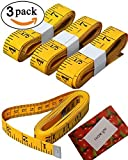 #3: BSLINO bb-134-ruler  3 Piece Double-Scale Soft Tape Measuring Weight Loss Medical Body Measurement Sewing Tailor Cloth Dressmaker Flexible Ruler, Heavy Duty