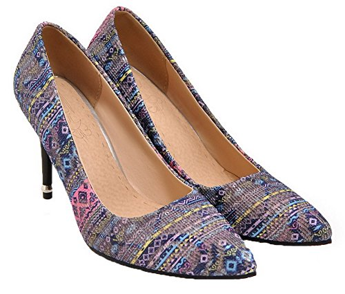 AmoonyFashion Womens Closed-Toe Blend Materials Floral High-Heels Pumps-Shoes Blue b9imp05mNB