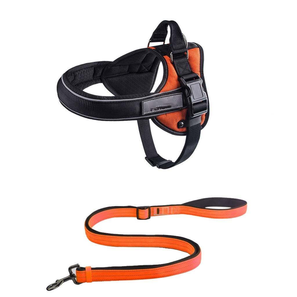 orange MediumZyj Dog Leashes Chest Straps Vesttype Small Mediumsized Large Dog Husky Antibreaking Dog Leash Explosionproof (color   Black, Size   XL)