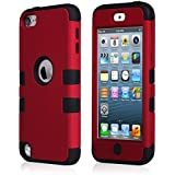 iPod Touch 5 Case, iPod Touch 6 Case, BENTOBEN 3 Piece Combo Hard Shell Soft Silicone iPod Touch 5th Generation Case Hybrid Shockproof&Drop Resistance Anti-slip Cover for iPod Touch 5 6, Red/Black
