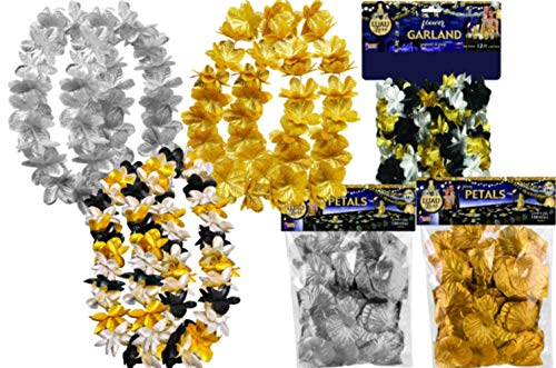Black Silver Gold Party Decorations Bundle: Includes Flower Garland, Flower Petals, and Leis for 6 People]()