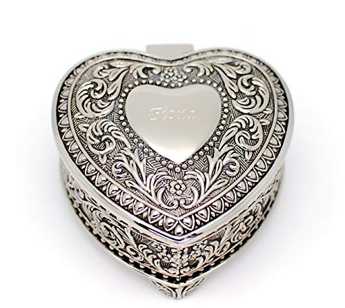 Newfavors Personalized Heart Shaped Jewelry Box - Monogramed Engraved with Name or Text Great Gift idea - Heart Personalized Gift Box