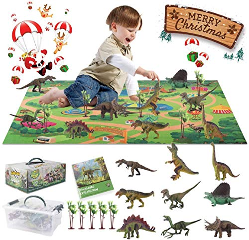 Wrystte Dinosaur Toys for Kids Boys 3-5, Dino Activity Play Mat with 9 Dinosaurs Figures 5 Trees Including T-Rex, Triceratops, Velociraptor Great Xmas Gifts Birthday Present for 3 4 5 6 Years Old