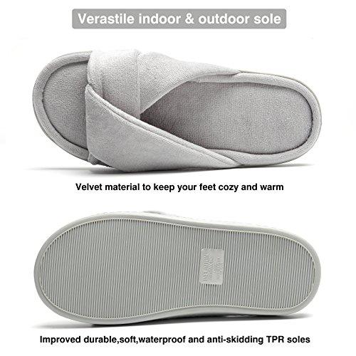 Harrms Foam Toes Memory Home Open Cozy Grey Slipper Spa rdrIqCx