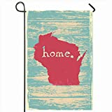 Ahawoso Outdoor Garden Flags 12'x18' Inch Inspiration Map Wisconsin Nostalgic Rustic Vintage State Motivation America American Americana Area Vertical Double Sided Home Decorative House Yard Sign