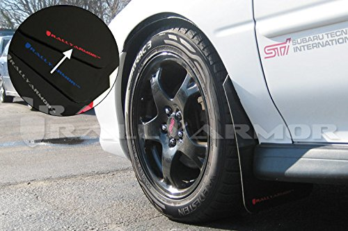 Rally Armor MF2-UR-BLK/RD Black, Red Mud Flap with Logo (1993-2001 Subaru Impreza UR)