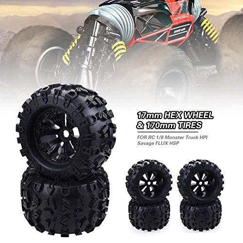 (Nifera for RC 1/8 Monster Truck HPI Savage Flux HSP 17mm HEX Wheel & 170mm Tires Black Front Rear Pentagram Plastic Wheel Rims + High Grip Rubber Tires Tyres)