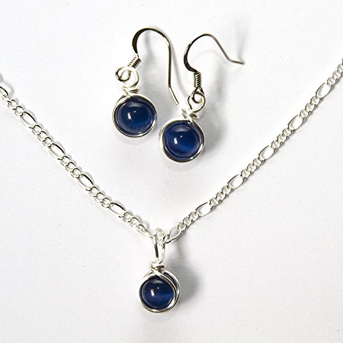 Navy Blue Earrings and Necklace Set - Handmade Bead Jewelry 16