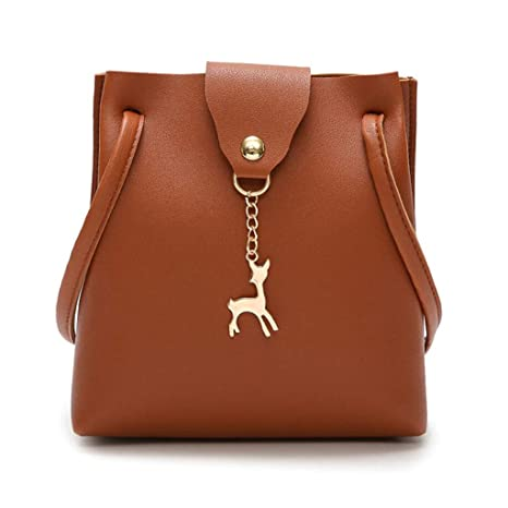 MTXLN Cute Temperament Bucket Bag Female Bag Wild Diagonal Bag Small Deer  Charm Simple Fashion Fringe da9404c0af949