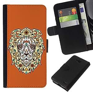 KLONGSHOP // Tirón de la caja Cartera de cuero con ranuras para tarjetas - Enfriar impresionante león floral - LG OPTIMUS L90 //