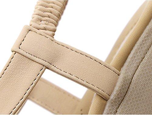 Femmes Ouvert T Antidérapage Plates Aisun Sangle Abricot Des De Chaussures Bout Confortables Sandales Plage Doux Rqn4CxwFn