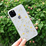 iPhone 11 Pro Flower Case, Feibili Soft Clear Flexible Rubber Pressed Dry Real Flowers Case Girls Glitter Floral Cover for iPhone 11 Pro(Yellow)