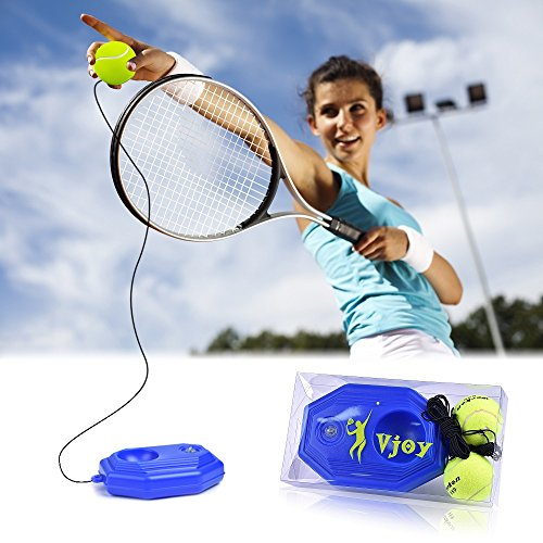 Tennis Ball Trainer Solo Aids, Tennis Base with A Rope Self-study Tennis Rebound Player with Trainer Baseboard + 2 Training (Www Tennis Trainer Com)