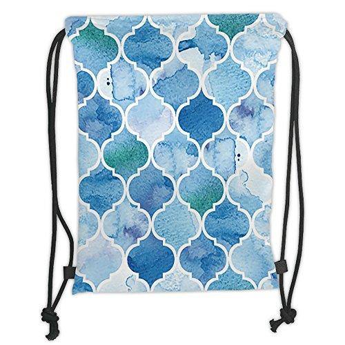 Amazon.com: Custom Printed Drawstring Sack Backpacks Bags,Watercolor,Abstract Moroccan Trellis Geometric Pattern Curves Persian Mosaic Design,Blue Baby Blue ...