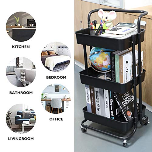 3 Tier Rolling Cart, ENUOSUMA Utility Cart Storage Trolley with Basket Drawers, Wheels and Handle, for Bathroom Kitchen Office, Easy Assembly (Black)