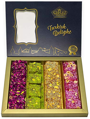 (Turkish Delight Luxury Assorted %100 Hand Made Gourmet Gift Box Fantastic Rose & Pomegranate Flavor Experience With Pistachio (16-22 Pcs) 17 oz)