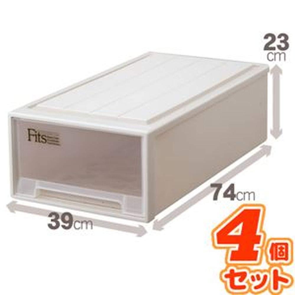 -4個セット-押入れ収納/衣装ケース-ロング-幅39cm×高さ23cm『Fitsフィッツケース』日本製 B07TCT456L
