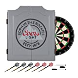Officially Licensed Coors Light Design Deluxe Wood Cabinet Complete Dart Set