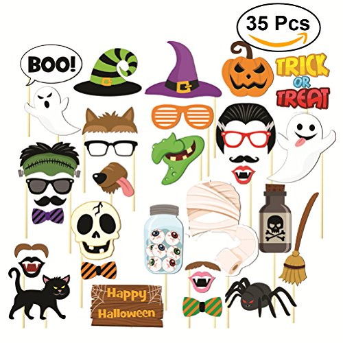 35pcs HAPPY HALLOWEEN Photo Booth Props Skull Witch Hat Pumpkin Bat Butterfly Fancy Party Decor Supply,Attached to the stick NO DIY (Photo Booth Ideas Halloween)
