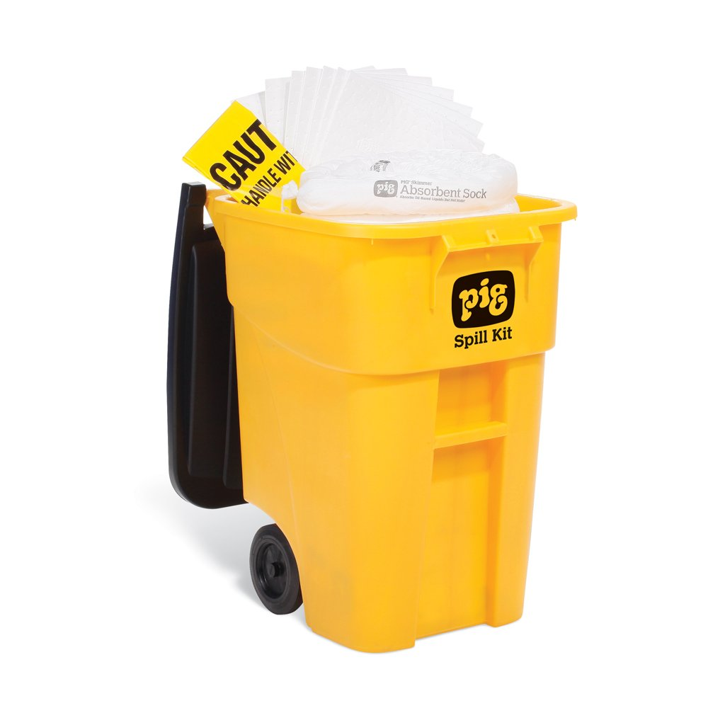 New Pig Oil-Only Spill Kit in High-Visibility Mobile Container, Absorbs Oil-Based Liquids, Repels Water, 40-Gal Absorbency, Hi-Viz Wheeled Mobile Spill Kit, KIT469